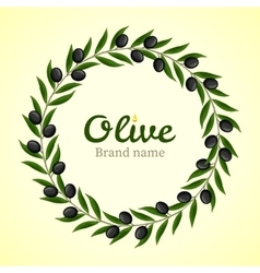 Black olive branches wreath vector image vector image