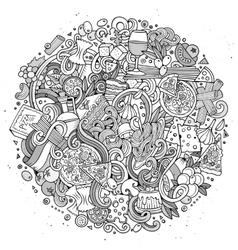 Cartoon cute doodles hand drawn italian food vector image