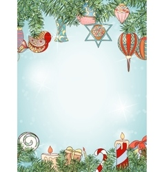 Christmas and New Year fir invitation card vector image