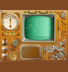 Industrial steampunk media player vector