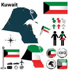 Map of kuwait vector