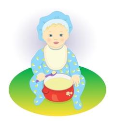 The child eats porridge vector image vector image