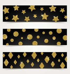 Black banners with golden glitter elements vector image