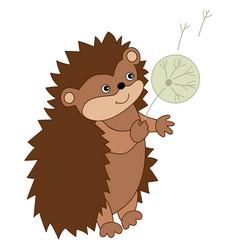 cute carton hedgehog with dandelion vector image