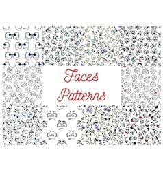 Human cartoon faces patterns vector image vector image