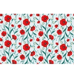 Seamless Flower Poppies and Roses Pattern vector image vector image
