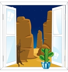 Window in desert vector image