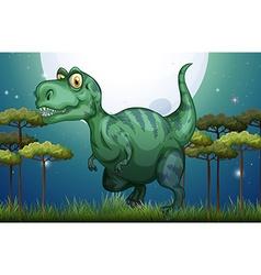Dinosaur in the field at night vector image