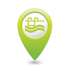 swimmingpool icon green map pointer vector image