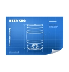 Technical wireframe with beer keg vector image