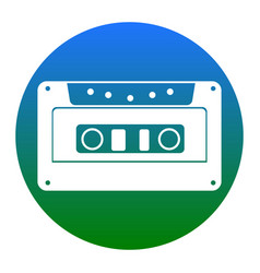 cassette icon audio tape sign white icon vector image