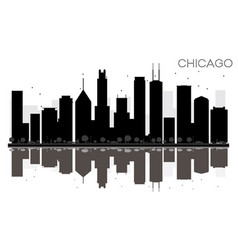 chicago city skyline black and white silhouette vector image