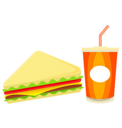 colorful cartoon sandwich juise fast food set vector image vector image