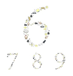 decorative numbers with food element numbers 6 7 8 vector image vector image