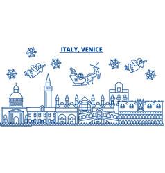 italy venice winter city skyline merry christmas vector image