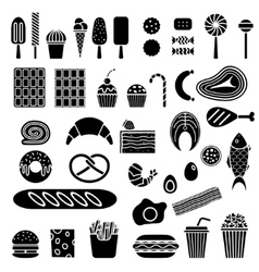 Silhouette of sweets and fast food vector image vector image