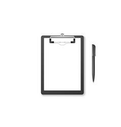 3d realistic black clipboard with blank vector image