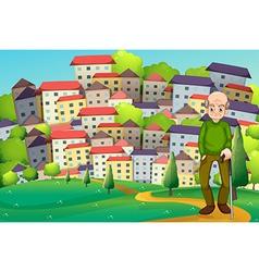 A grandfather at hilltop across village vector