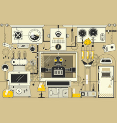 abstract futuristic electronic laboratory vector image