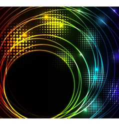 abstract glowing background with digital symbols vector image