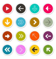 arrow set arrows in colorful paper circles vector image