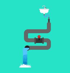 bath plumbing system sewerage scheme vector image