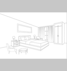 bedroom furniture interior room line sketch vector image