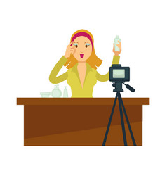 Blogger girl or vlogger woman character for vector