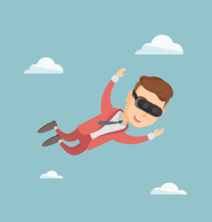 Businessman in vr headset flying in the sky vector