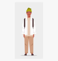 Casual man with backpack male african american vector