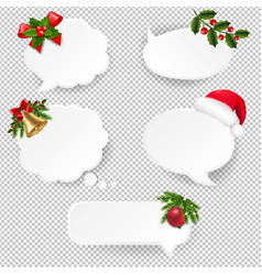christmas speech bubble set with transparent paper vector image