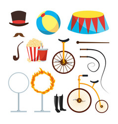 circus trainer items set circus vector image