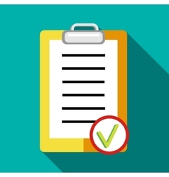 Clipboard tick list icon in flat style vector image