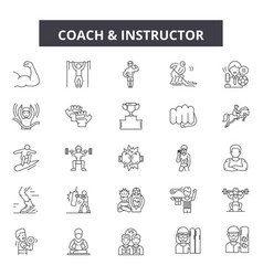 coach and instructor line icons signs set vector image