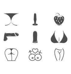 Collection cute sex shop icons sexual symbols vector