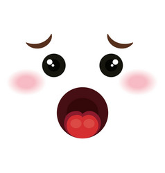 confused face emoticon kawaii style vector image
