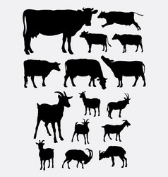 Cow and goat animal silhouettes vector