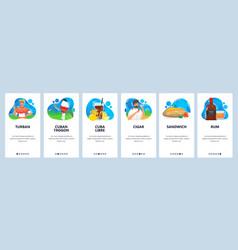cuba website and mobile app onboarding screens vector image