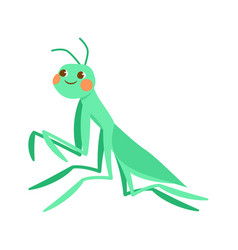 cute green smiling grasshopper on white background vector image