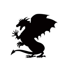 Dragon fighting silhouette vector