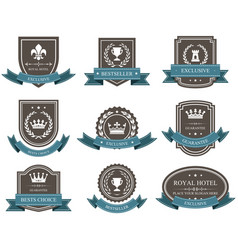 emblems and badges with crowns and ribbons - award vector image