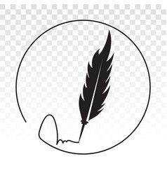 Feather quill pen with rounded signature - flat vector