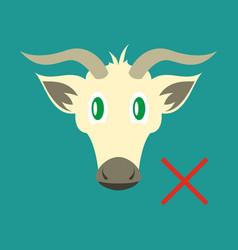 Flat goat head livestock animal grazing vector