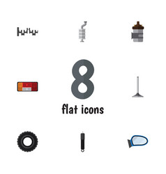 Flat icon parts set of steels shafts wheel vector