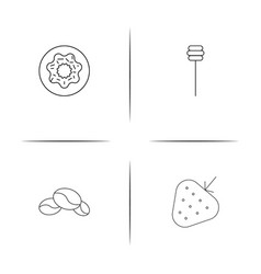 Food and drink simple linear icons set outlined vector
