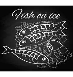 fresh fish and lemon on the ice vector image