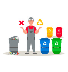 Garbage man in uniform informs about garbage vector
