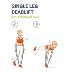 Girl doing single leg deadlift home workout vector