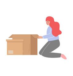 Girl sitting on knees packing her belongings vector