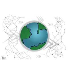 Global Business Network technology background vector